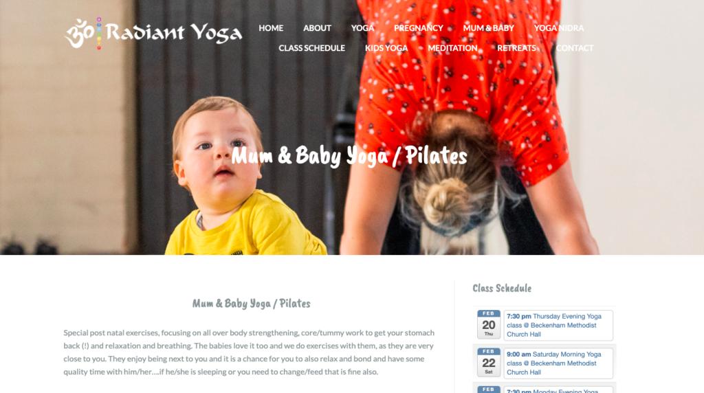 Radiant Yoga mum & baby page