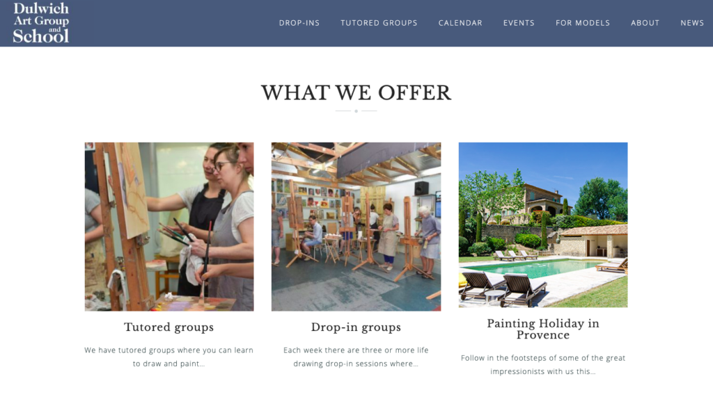 Dulwich Art Group - what we offer section of homepage
